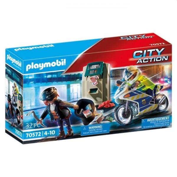 70572 Playmobil Politiemotor: Achtervolging Van De Geldrover