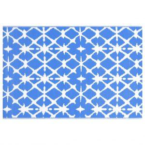 vidaXL Buitenkleed 80x150 cm PP blauw en wit