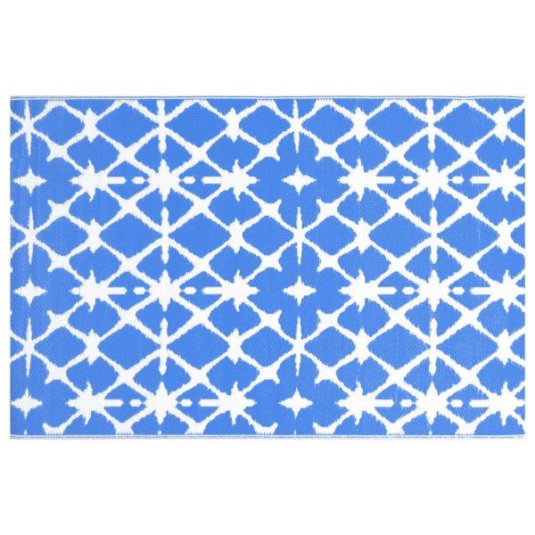 vidaXL Buitenkleed 120x180 cm PP blauw en wit