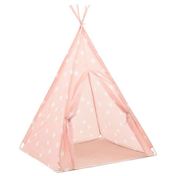 vidaXL Kindertipitent met tas 115x115x160 cm polyester roze