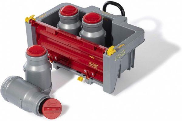 Rolly Toys aanhanger RollyBox met melkkannen 5-delig grijs/rood