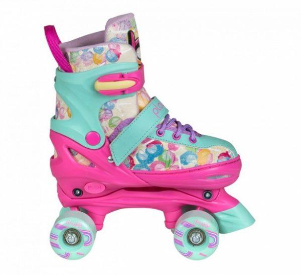 Playlife rolschaatsen Lollipop roze/turquoise meisjes