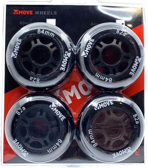 Move skatewielen 82A polyurethaan 84 mm zwart 4 stuks