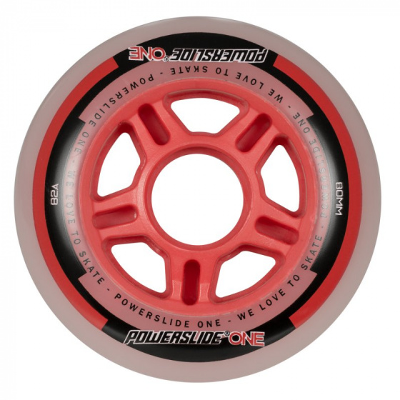 Powerslide skatewielen One 80 mm polyurethaan rood 4 stuks