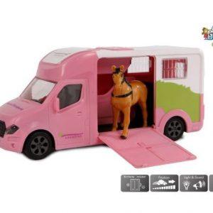Kids Globe Anemone paardentruck die cast licht geluid roze 20cm