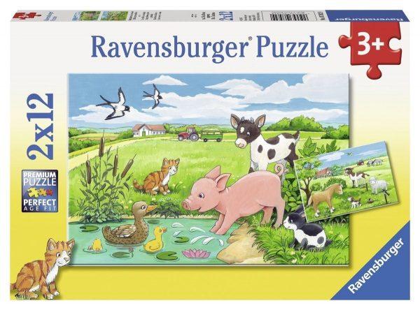 Ravensburger puzzel 2x12 stukjes jonge dieren op het platteland